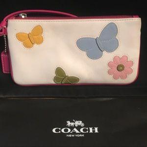 Coach hot pink trim butterfly flower wallet RARE